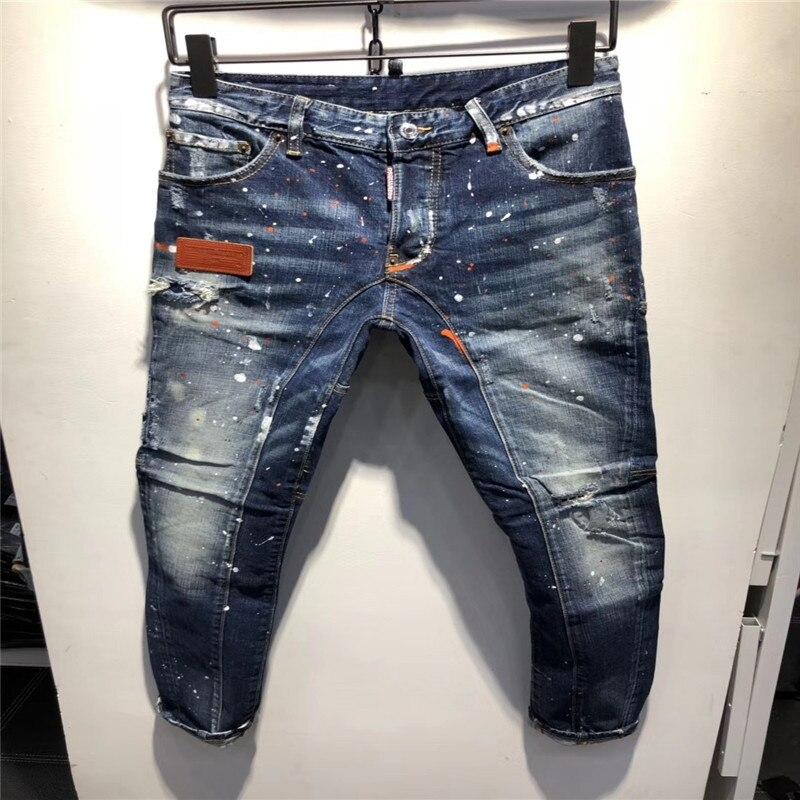 F.N.JACK New 2019 Fashion Men Jeans Stylish Ripped Pencil Pants Skinny Slim Hip Pop Denim Dot hole LOW Casual Jean hot sale