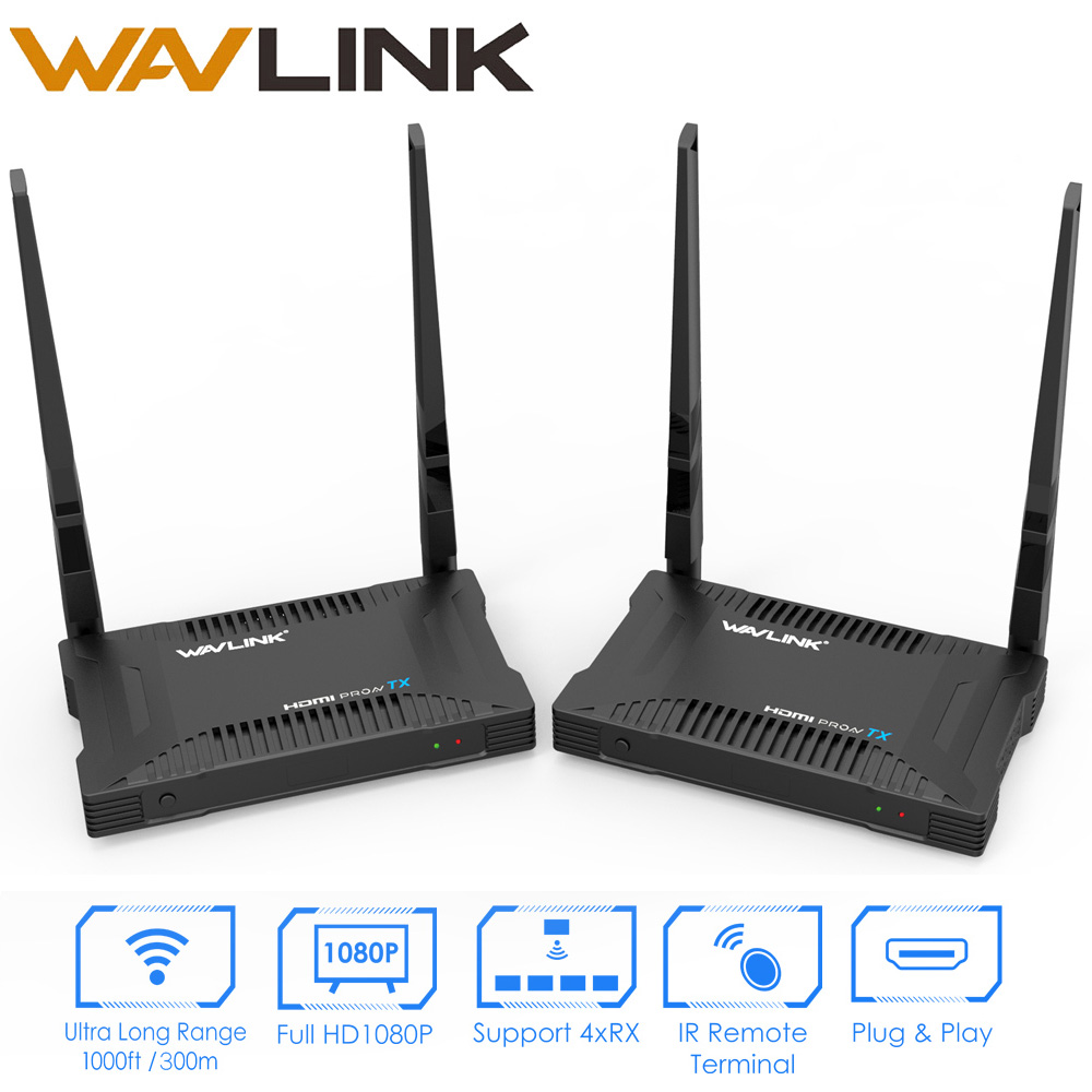 Wavlink High Power 300M Wireless HDMI Transmitter Receiver 5GHz Full HD 1920x1080 VGA HDMI Extender Wireless VGA Transmitter