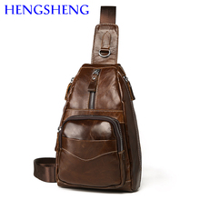 Hengsheng factory outlets genuine leather men chest bags of zipper open pocket men chest packs with cow leather man chest bag