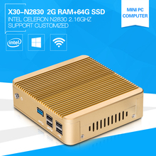 XCY Mini Computer Celeron N2830 Dual-Core 2.16GHz  2G RAM 64G SSD Fanless Design Windows 10 Small Box PC  Low Heat Noise 5*USB