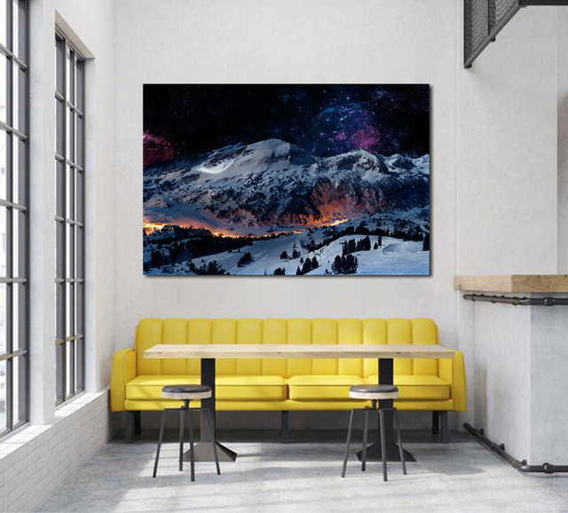 AliExpress & US $7.67 36% OFF|winter night snow mountains scene landscape KC395 living room home wall modern art decor wood frame fabric posters-in Painting \u0026 ...