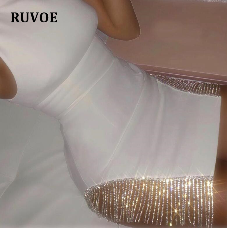 Newest Elegant White Bling Bling Bodycon Party Dress Sleeveless Off Shoulder Bodycon Night Club Celebrity Party Dress SDE-21