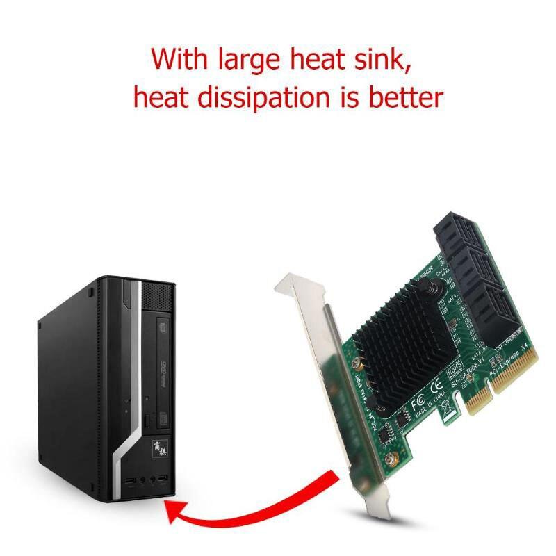 Nouvel adaptateur de carte d'extension PCI Express vers SATA3.0 6 ports SATA III 6G pour SSD HDD IPFS Mining EM88