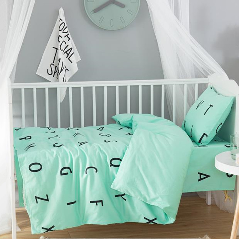 3Pcs/Sets Baby Bedding Sets Letters Pattern Pink Quilt Cover  Bed Sheets PillowCases Newborn Cotton Baby Bedding Sets For Crib