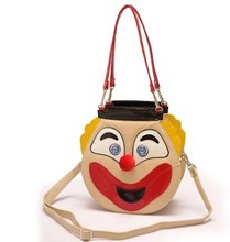 Amliya shaped color block handbag double face personalized women's cross body bag smile and cry look funny clown handbag