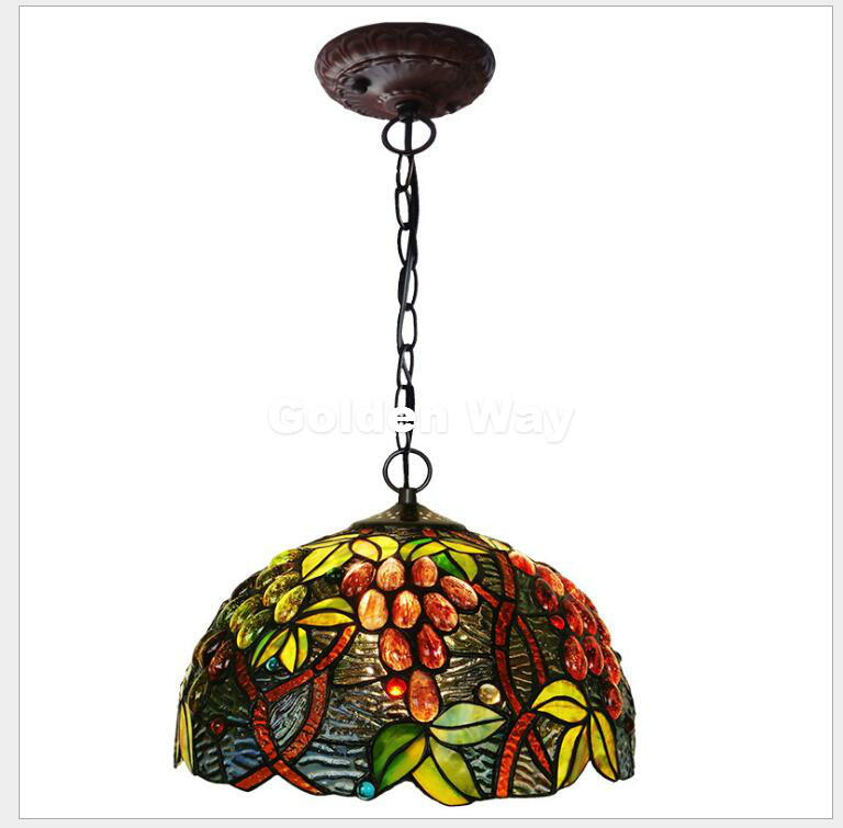 Free Shipping European Tiffany Pendant Light Baroque Style Hanging Lamp 12 Inch Stained Glass Suspended Luminaire E27 110-240V 16inch tiffany style rose glass pendant light bedroom study color glass lamp e27 110 240v