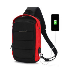 OZUKO Men Crossbody Bag USB Charging Multifunction Chest Pack Short Trip Messengers Water Repellent Shoulder Male