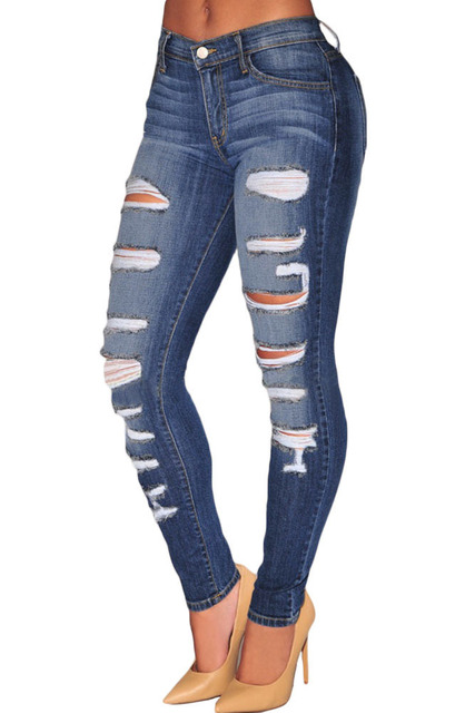 Blue denim destroyed whisker washed skinny jeans high waist sculpt ...