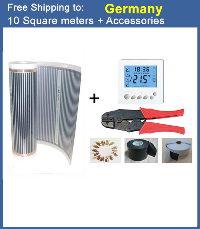 Germany Shipping Free 10 Square Meter 220Watt Floor Heating Film With All Accessories For Room Warming 220V/230V united kingdom free shipping 50 square meter infrared heating film with accessories under floor heating film 50cmx100m