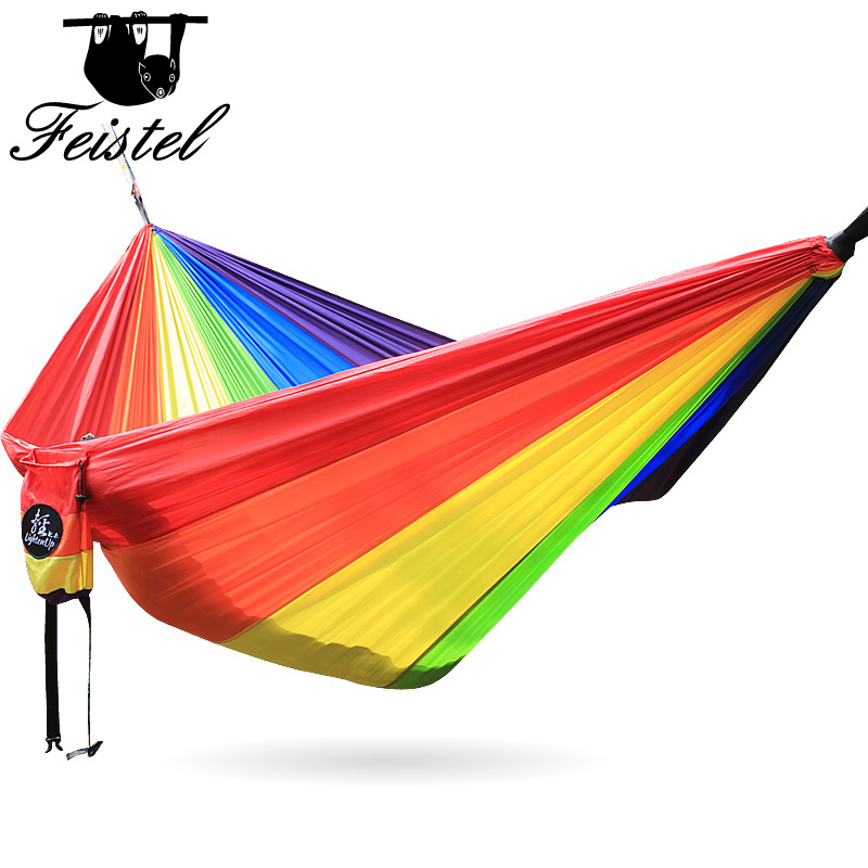 Red Orange Yellow Green Blue Purple 6 Color Rainbow Nylon Hammock