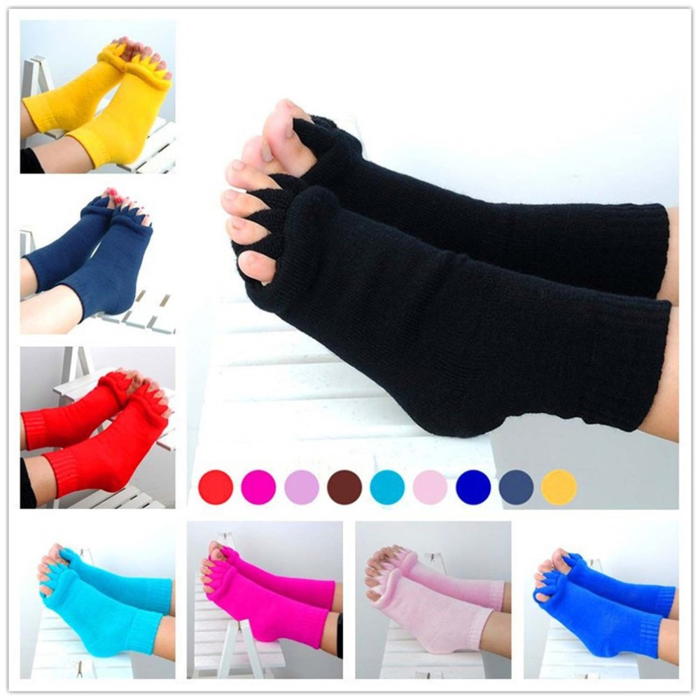 Hot Toe Separator Socks Men Women Knitted Floor Socks Autumn Winter Ankel Length Non-slip Socks Toes Rehabilitation Tool Meias