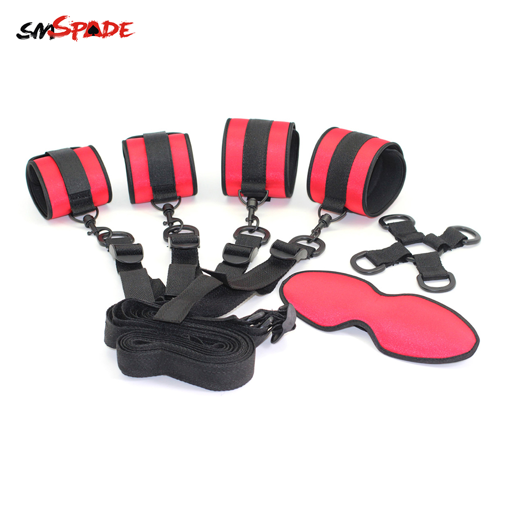 Smspade Bondage Erotic Toys Underbed Restraints Kit Sex Toys For Woman Slave Handcuffs Ankle Cuffs Sex Mask Seks Toys Adult Game
