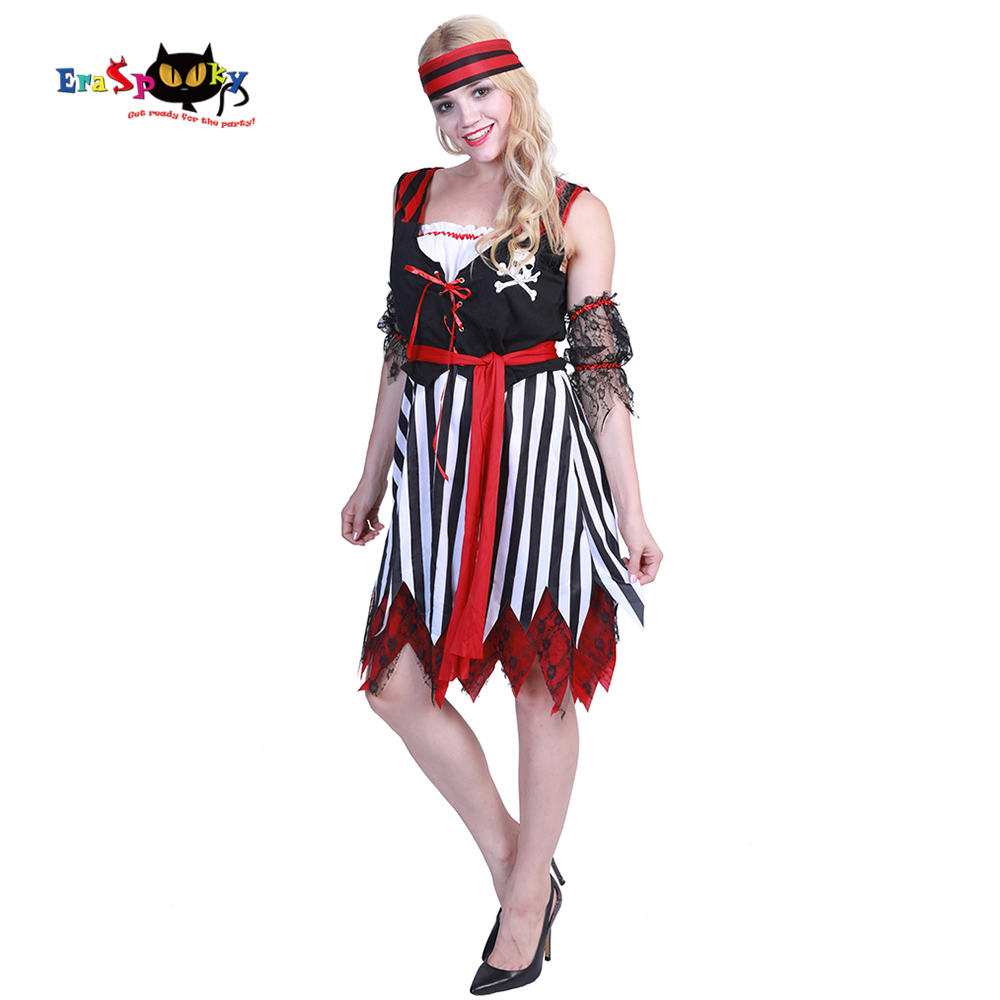 Eraspooky halloween costumes for women sexy female fantasia stripe dress Adult Pirate Costume Women Sweet Buccaneer Cosplay