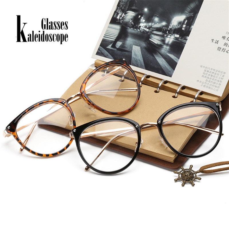 Kaleidoscope Glasses Transparent Women's Frame Degree Eyeglasses Oversized Cat Eye Glasses Frame Clear Lens Glasses