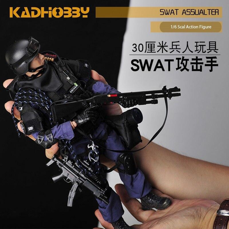 Nouveau 1/6 échelle militaire soldat Figure jouets ensemble Collectable US Swat équipe modèle bricolage vêtements poupée Action Figure pistolet jouet pour garçons