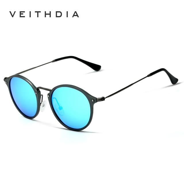 VEITHDIA Brand Designer Sunglasses Fashion Sun Glasses Polarized Coating Mirror UV400 Lens Round Male Eyewear For Men/Women 6358