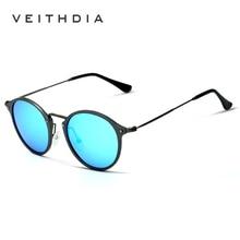 VEITHDIA 브랜드 디자이너 선글라스 패션 선글라스 편광 코팅 거울 UV400 렌즈 라운드 남성 안경 남성/여성 6358