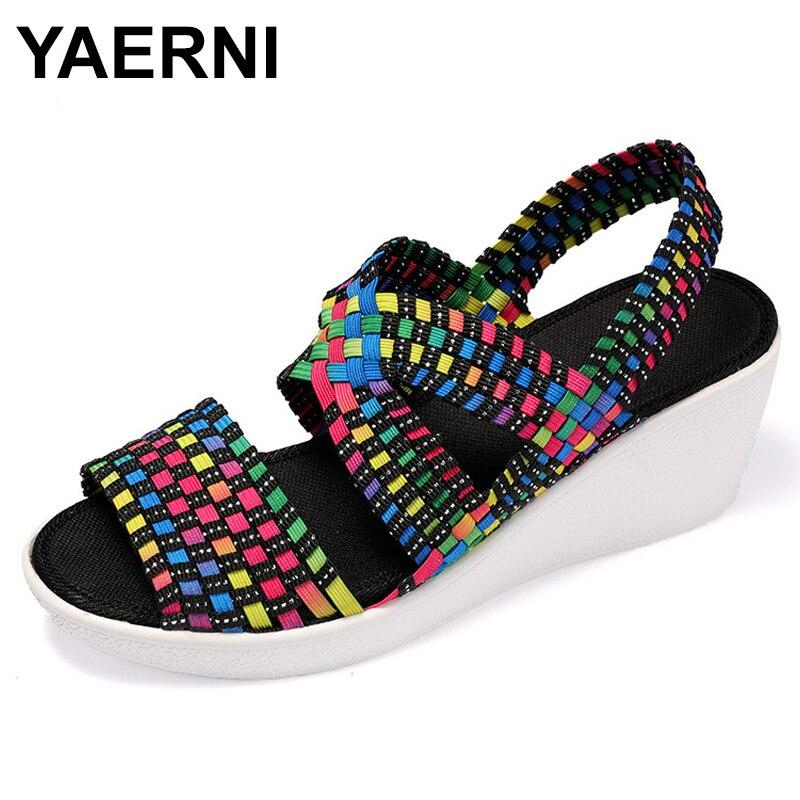 Best buy ) }}YAERNIWomen Sandals Summer Platform Shoes Slip On