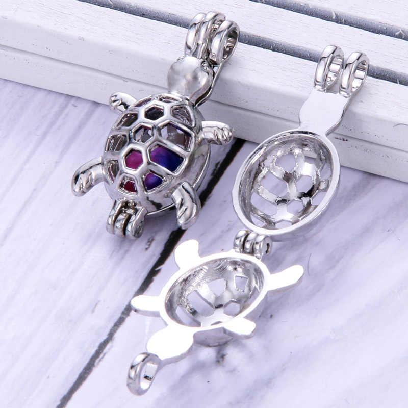 4 teile/los Schildkröte form Perlen Käfig Schmuck Machen Liefert Perle Käfig Anhänger Ätherisches Öl Diffusor Medaillon Für Oyster Perle