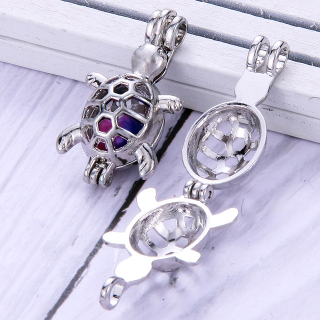 4pcs/lot Turtle shape Pearls Cage Jewelry Making Supplies Bead Cage Pendant Essential Oil Diffuser Locket For Oyster Pearl