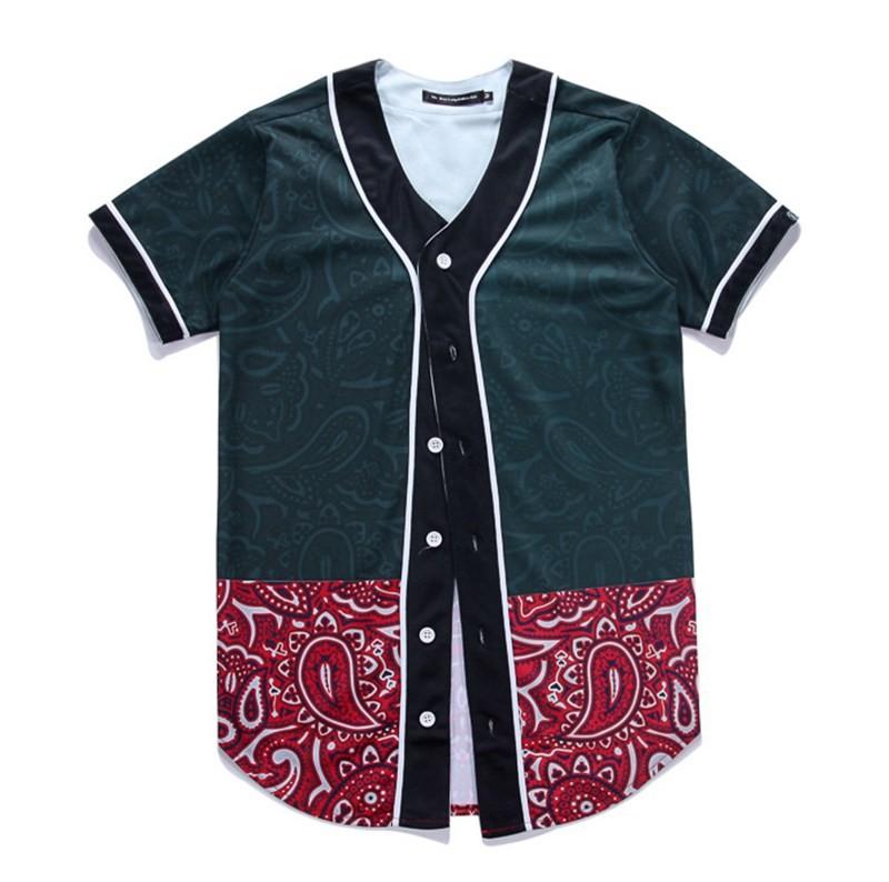 Newest Men`s Shirts Retro Mens Hipster Hip Hop Button-Down Baseball Jersey Casual V-neck Short Sleeve Fancy Shirts Men M-XXXL (13)