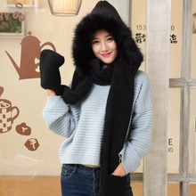 3Psc Cute women winter warm soft plush faux fur hooded cap scarf gloves Girls thick cashmere hats scarves and gloves sets 2017