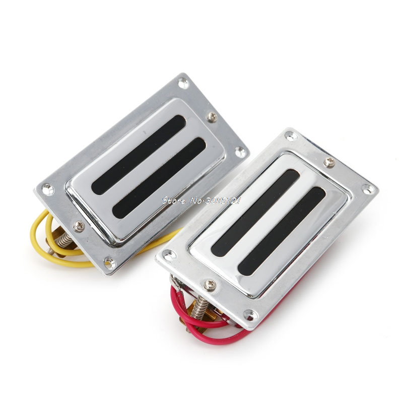 2Pcs Mini Humbucker Pickups Bridge Neck Set For Guitar Parts kmise electric guitar pickups humbucker double coil pickup bridge neck set guitar parts accessories black with chrome gold frame