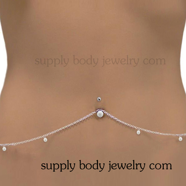 Stainless steel belly waist navel Chain with ferido ball dangle