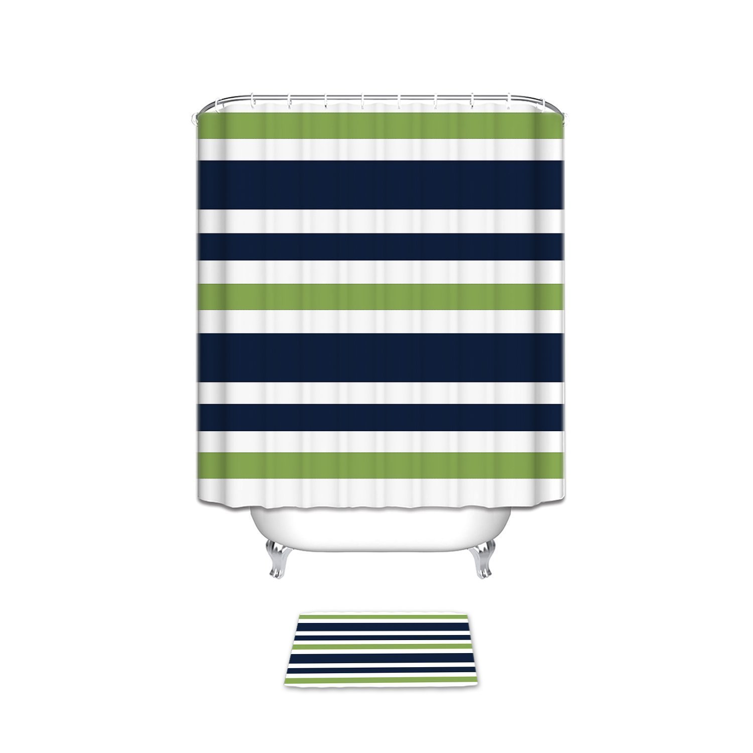 CHARMHOME Navy <font><b>Blue</b></font> Lime Green and White Kids <font><b>Bathroom</b></font> Fabric Bath Stripes Shower Curtain Sets with Mats Rugs Doormat Carpet