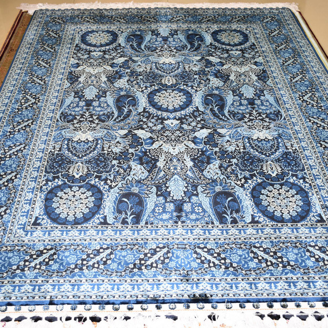 Mingxin 5x7 Feet Black Blue Large Rugs Hand Knotted Turkish Carpets High Quality Carpet For Floor