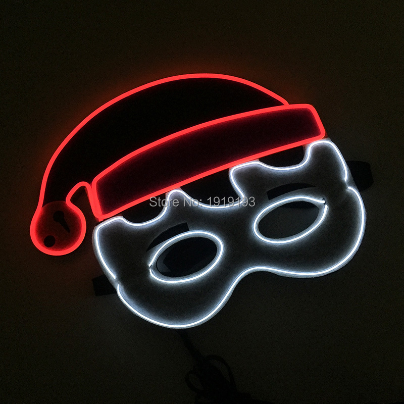Music Active Cosplay Santa Light Up Mask Glowing Party Lights Neon Rope EL Santa Baby Cute Mask Rave Costume Masquerade Favors