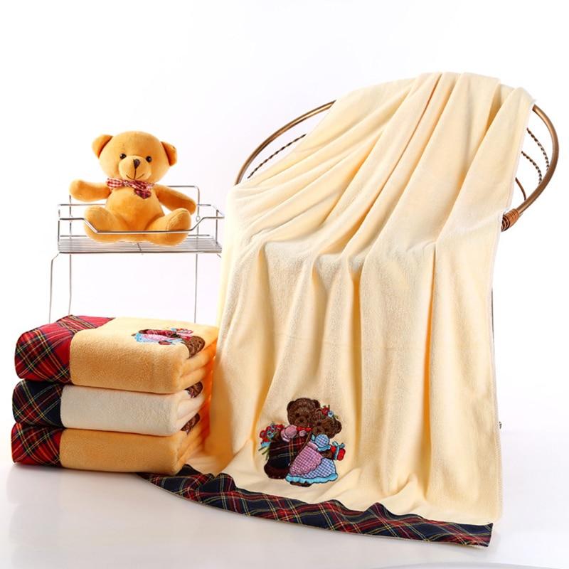 70x140 см мягкий материал микрофибры детское банное полотенце с мультяшным принтом Медведь Вышитые для детей, мужчин и женщин полотенце для ду