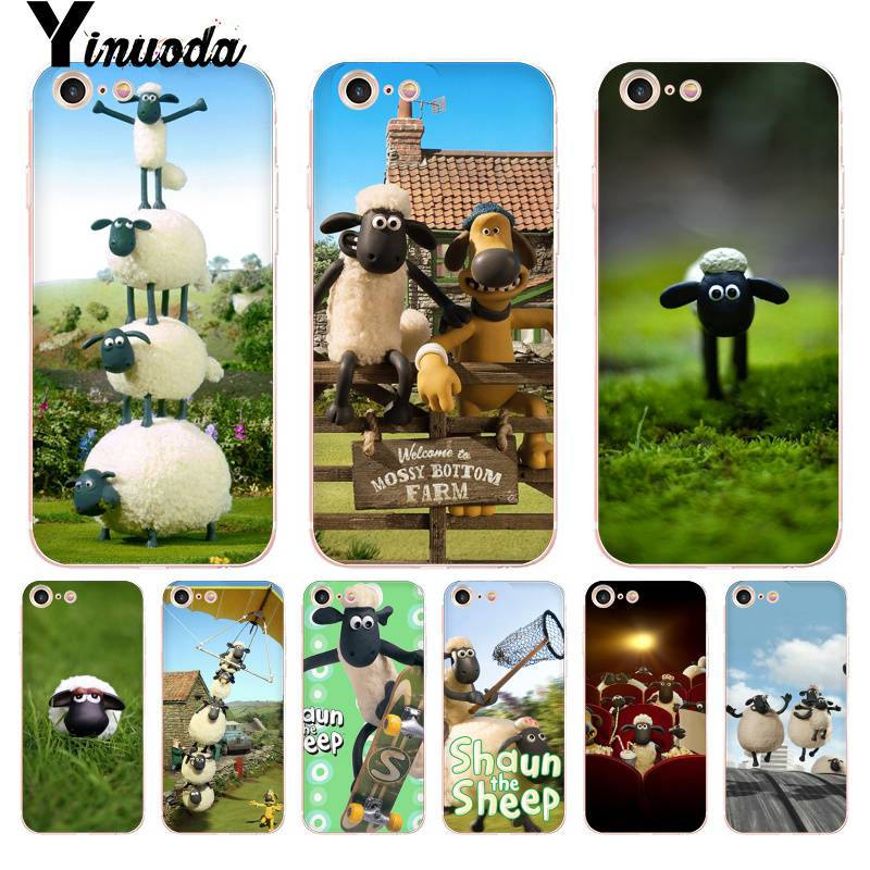 low priced e63a2 0911e Yinuoda For iphone 7 6 X Case Shaun the Sheep Movie Transparent Phone Cover  Case for iPhone 8 7 6 6S Plus X 10 5 5S SE 5C XS XR