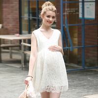 2018 Summer New Fashion Maternity Clothes V Collar Lace Maternity One Piece Dress White Lace Maternity