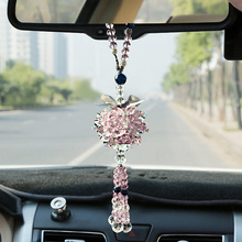 Car pendant car accessories high-end lady lovely rearview mirror Ping An crystal