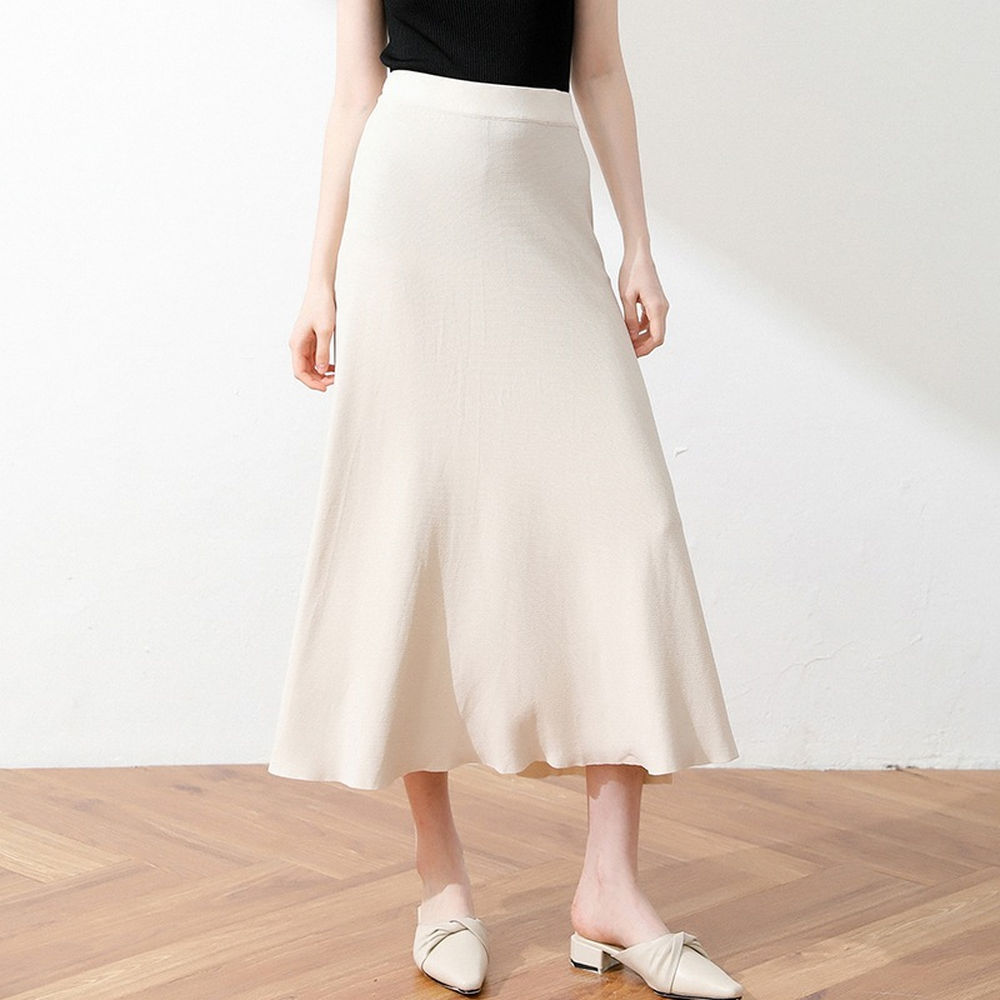 2019 New Side Forked Halfway Female Spring and Summer High Waist Long Side Forked Folded Skirt A character Skirt Swagger skirts in Skirts from Women 39 s Clothing