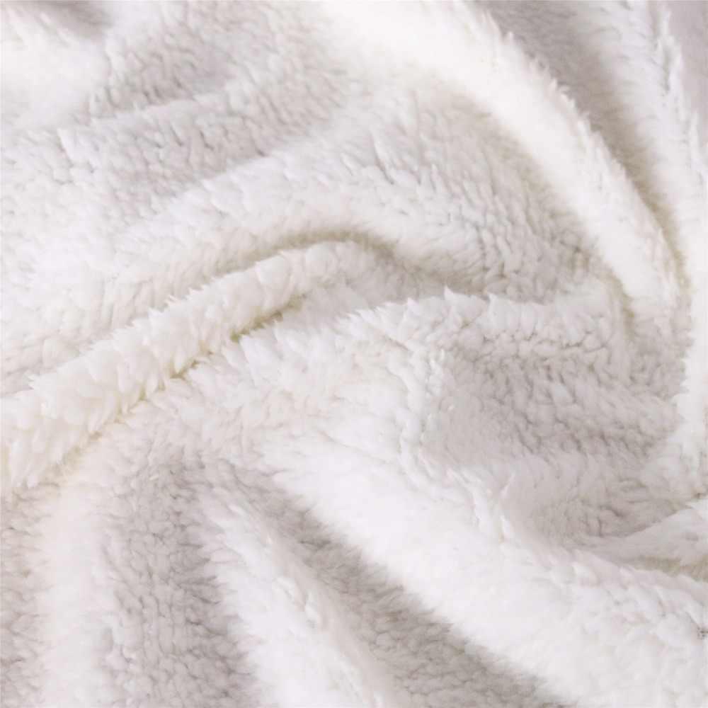 بطانية شيربا ثلاثية الأبعاد مطبوعة باللون الأصفر كيرين غطاء لحاف للسفر وفراش الشباب مخملي مخملي بغطاء سرير من الصوف