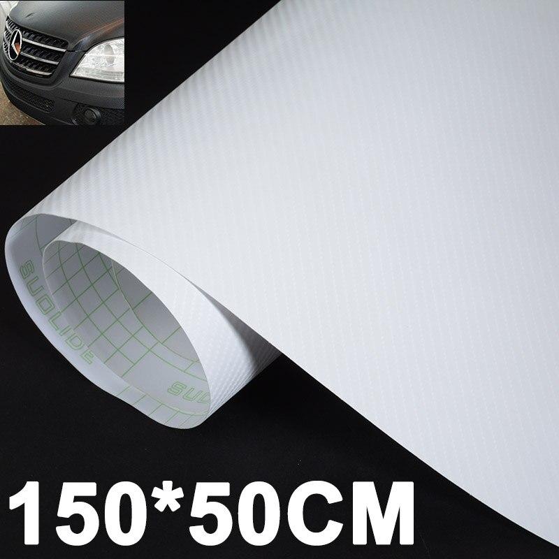 1pc 150*50CM 3D Carbon Fiber Sticker High Quality Carbon Fiber Car Vinyl Wrap Sheet Roll Film Decal White for Car Stickers