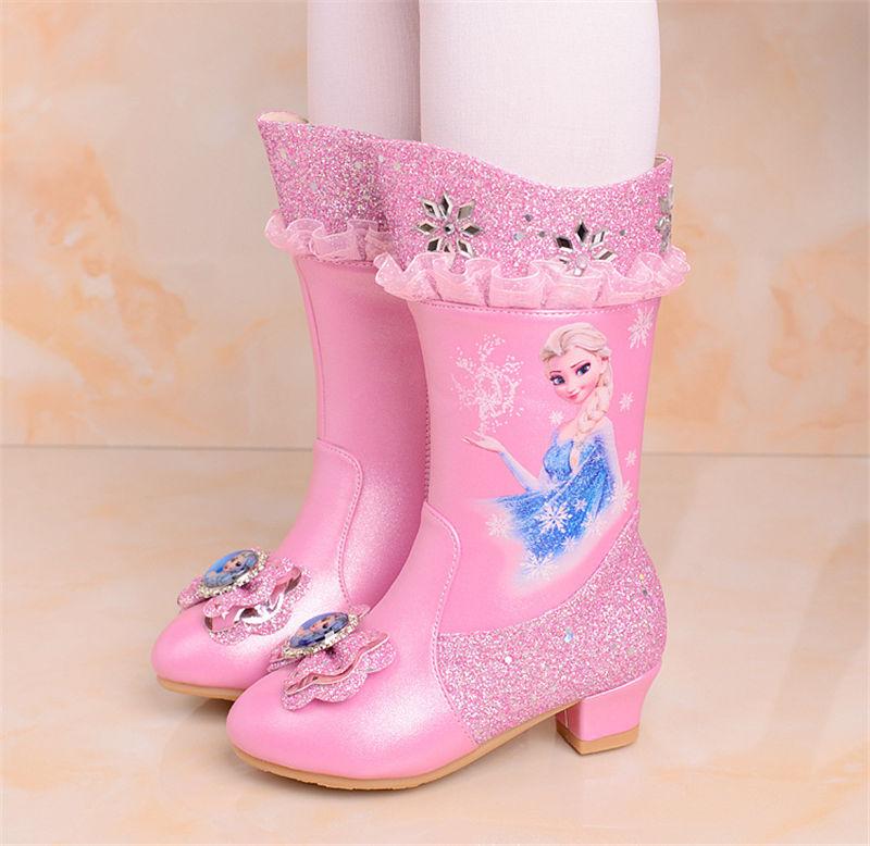 2019 new Frozen boots children s shoes girls high heels princess winter cotton shoes autumn fashion