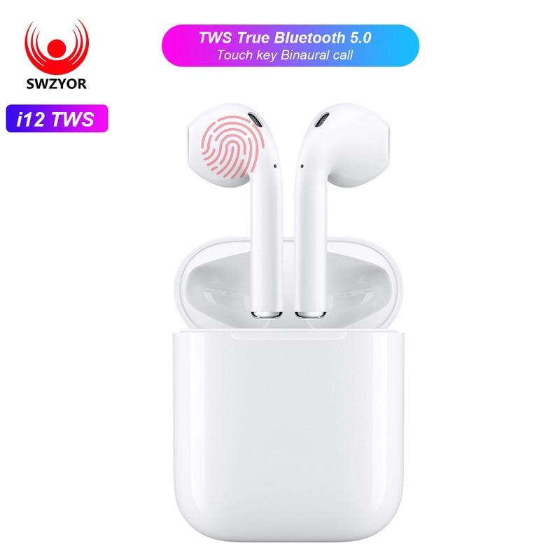 SWZYOR Mini i12 TWS Bluetooth 5,0 Kopfhörer Sport Wahre Drahtlose Ohrhörer Touch Kopfhörer Magnetic Charging Box PK i10 i11