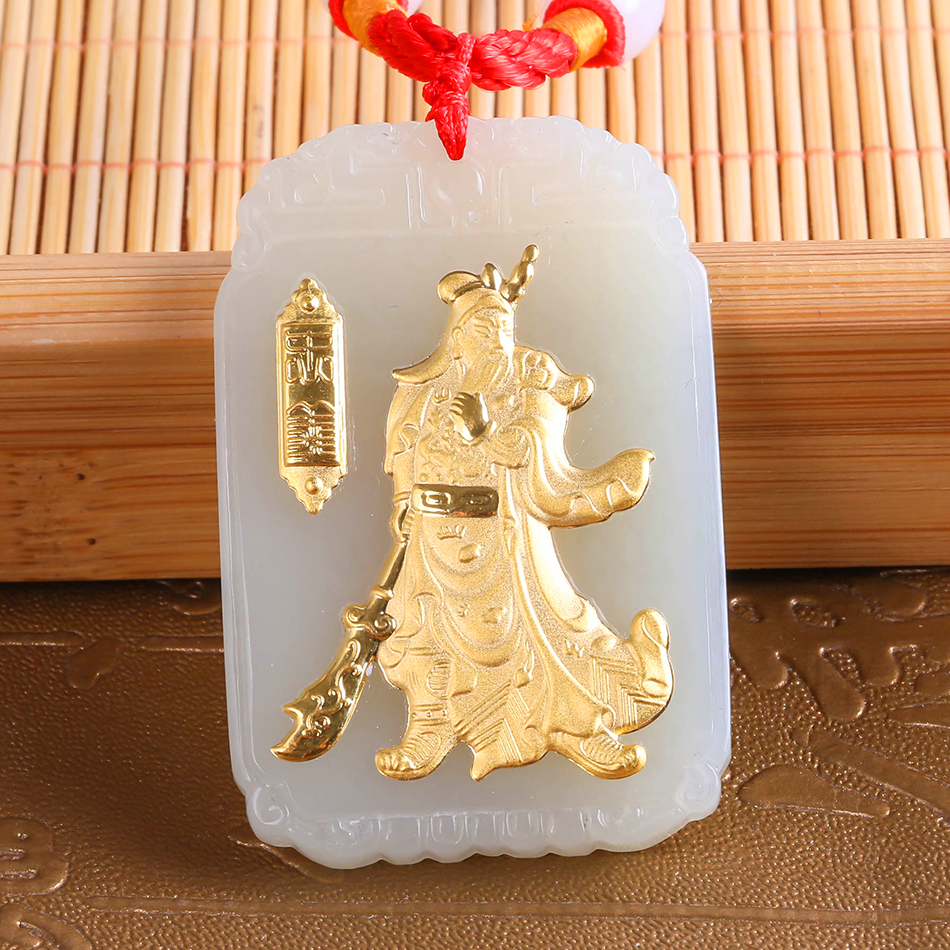 Yellow Gold Pendant Jade Necklace Hetian Jade Loyalism Guan Yu Pendant Men's Domineering Pendant Fine Jewelry Free Shipping 8646 free shipping jade
