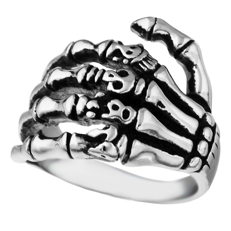 EdgLifU Pria Cincin hitam Vintage Punk Skeleton Rings Stainless steel - Perhiasan fashion - Foto 2