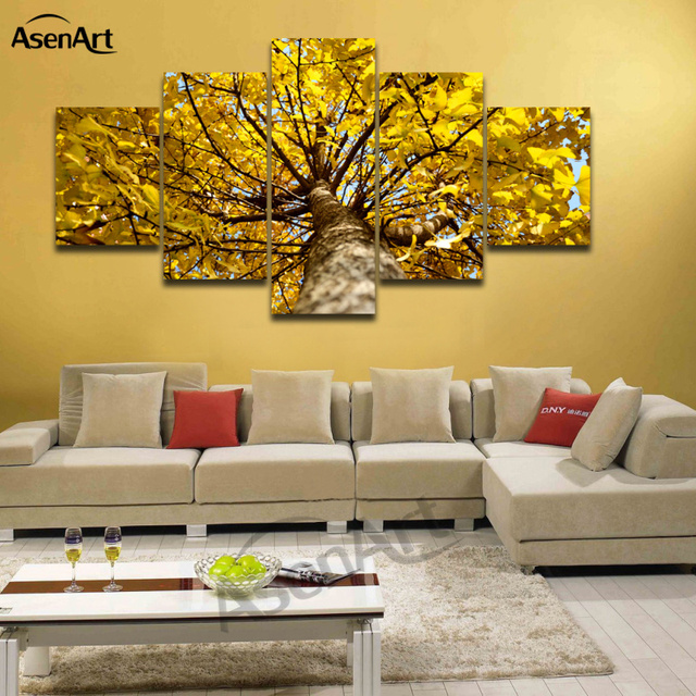5 Panels Attractive Golden Ginkgo Tree Canvas Printing Modern Wall ...