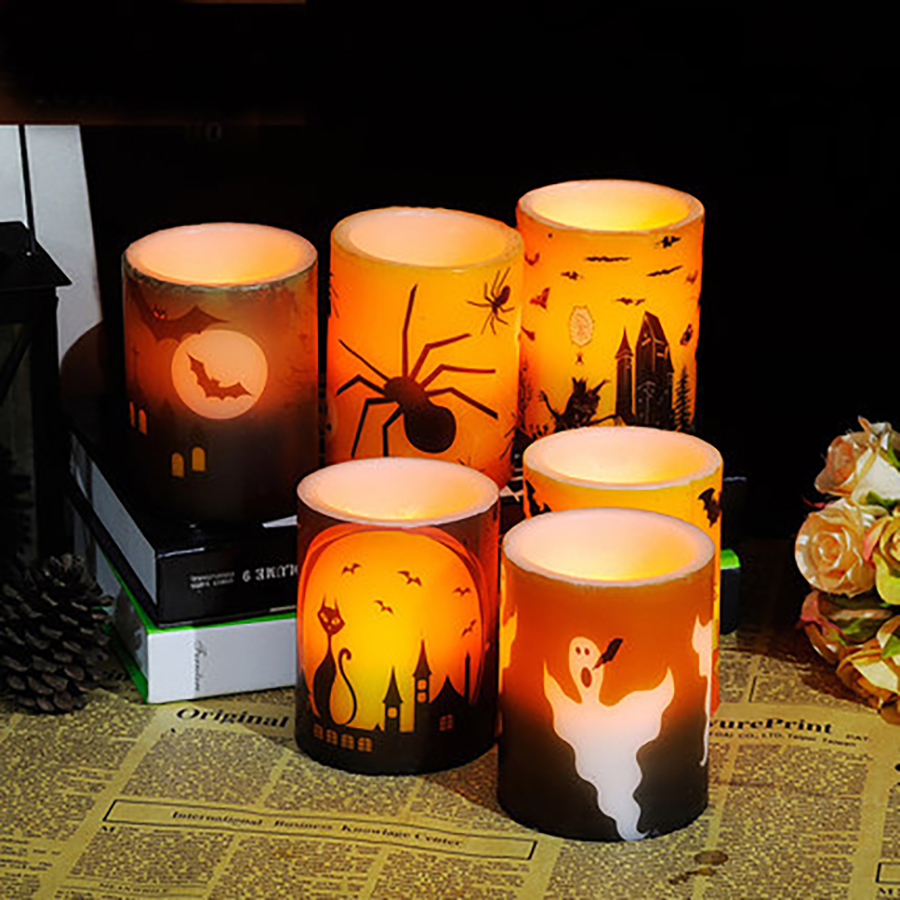 halloween candle decoration led bougies et chandelles velas paraffin wax flameless bougies making bar candles home - Candles Home Decor