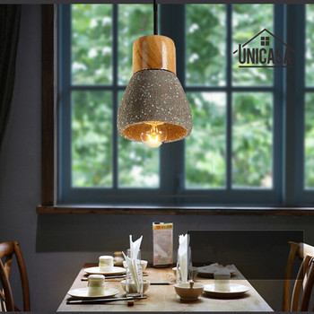 Industrial Lighting Fixtures Vintage Cement Shade Kitchen Light Wooden Modern Pendant Lights Black Mini Pendant Ceiling Lamp