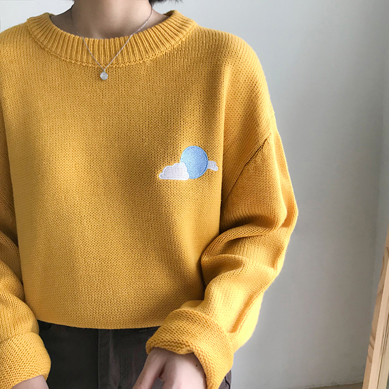 Korean Cute Cartoon Embroidery Pullover Jumper Women Autumn Winter Casual Round Neck Long Sleeve Loose Sweaters