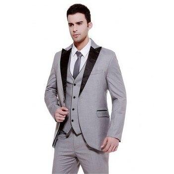 Customized Men Suit Slim Fit For Wedding Dinner Prom ( Jacket+Pants+Vest) Mens Groom Best Man Bridegroom Tuxedos Regular Styles