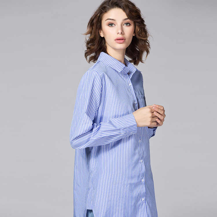 888e6421c4a TWOTWINSTYLE 4XL Striped Irregular Women's Blouses Shirts Long Sleeve Plus  Size Tops Lapel Female Shirt Casual Clothing Fashion