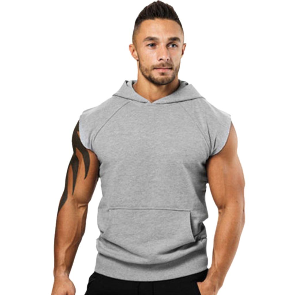 Men   Tank     Top   Bodybuilding Clothing Fashionable Men's Vest Jacket Lightweight Sleeveless Contrast Hoodie Fitness Undershirt c0409