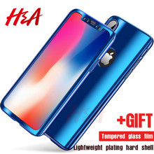 H&A 360 Degree Full Plating Phone Cases For iPhone X 10 Luxury Electraplating Cover Case For iPhone X 10 8 7 6 6s Plus Case
